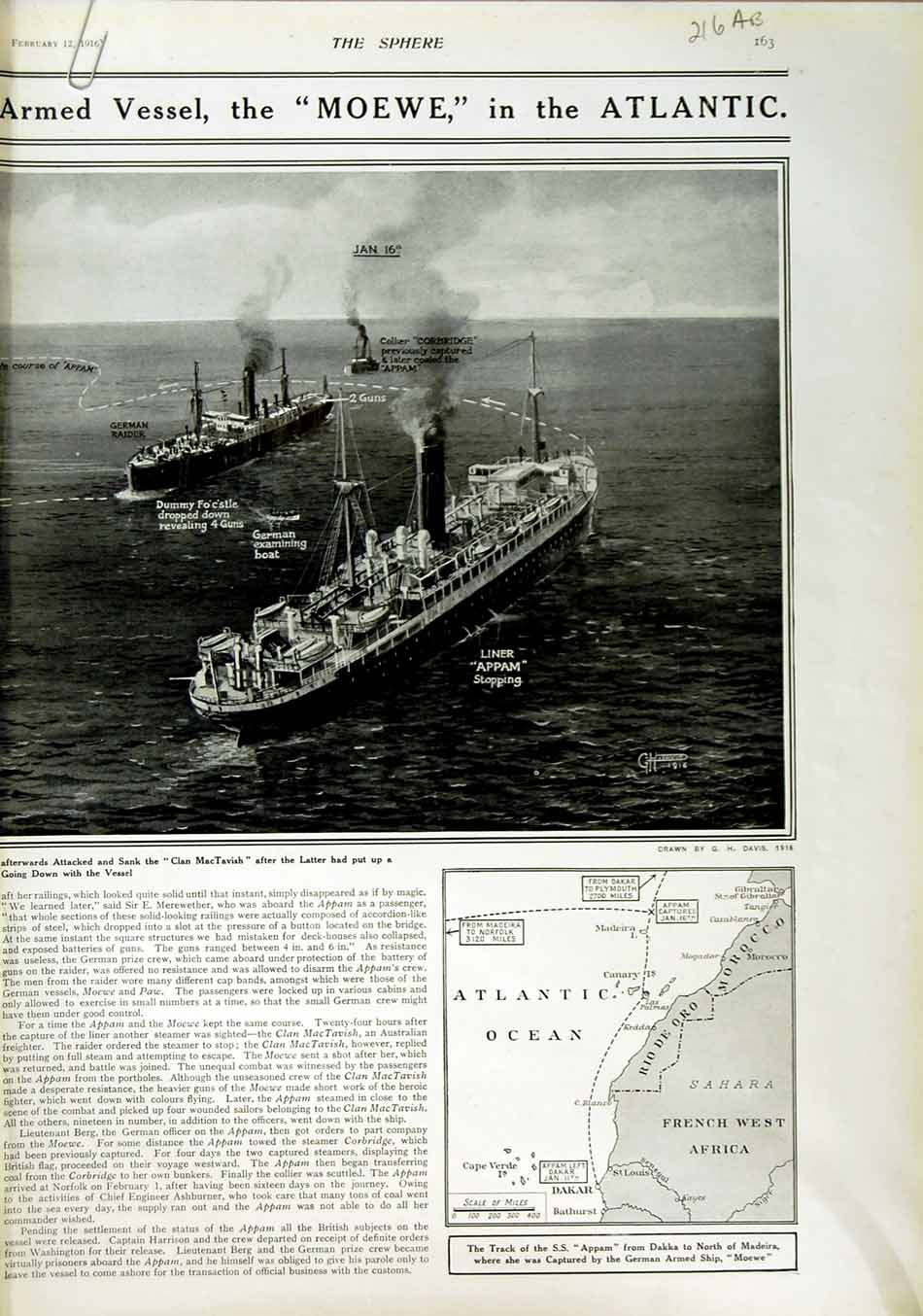 [Print 1916 King Stephen Trawler Boat French Soldiers War 216An802 Old Original]