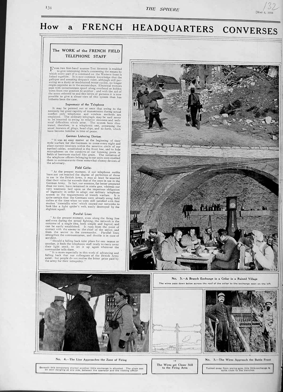[Print 1916 French War Soldiers Shelter Telephone Exchange 132N803 Old Original]