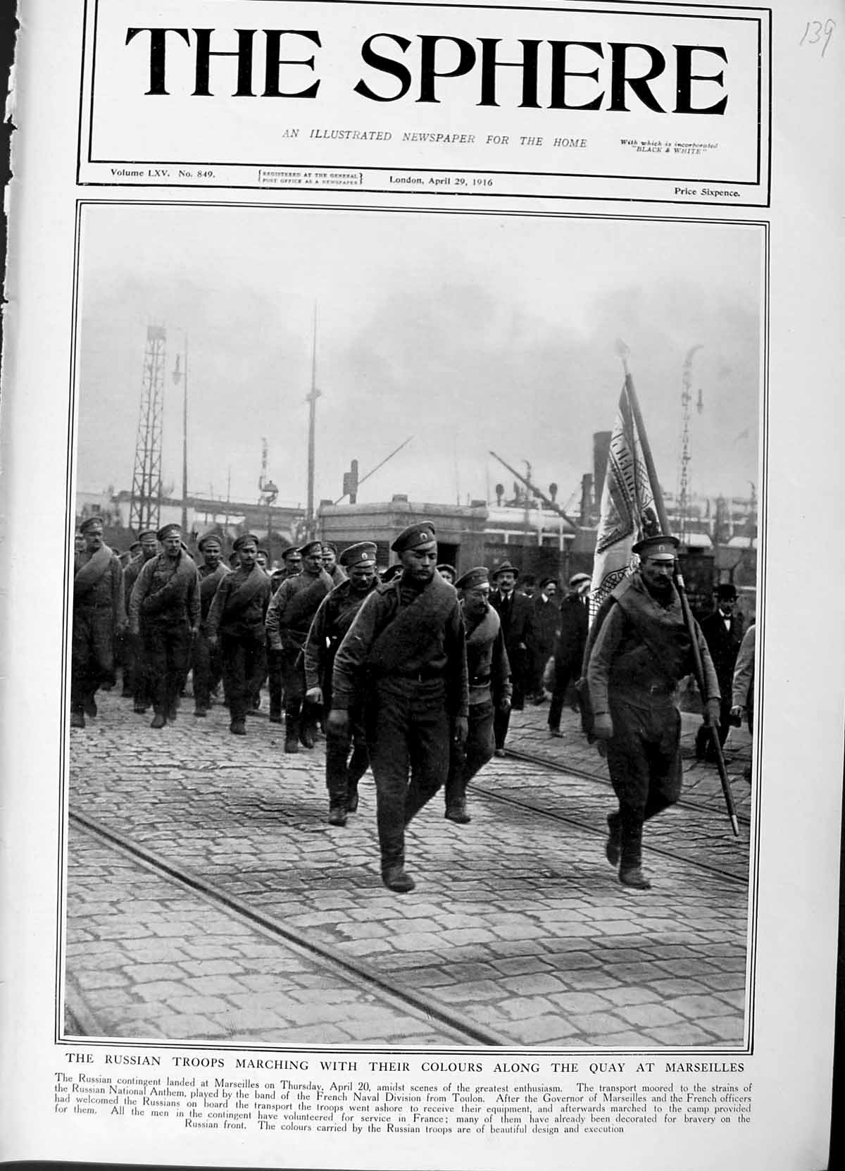 [Print 1916 Russian Soldiers Marching Marseilles France War 139N803 Old Original]