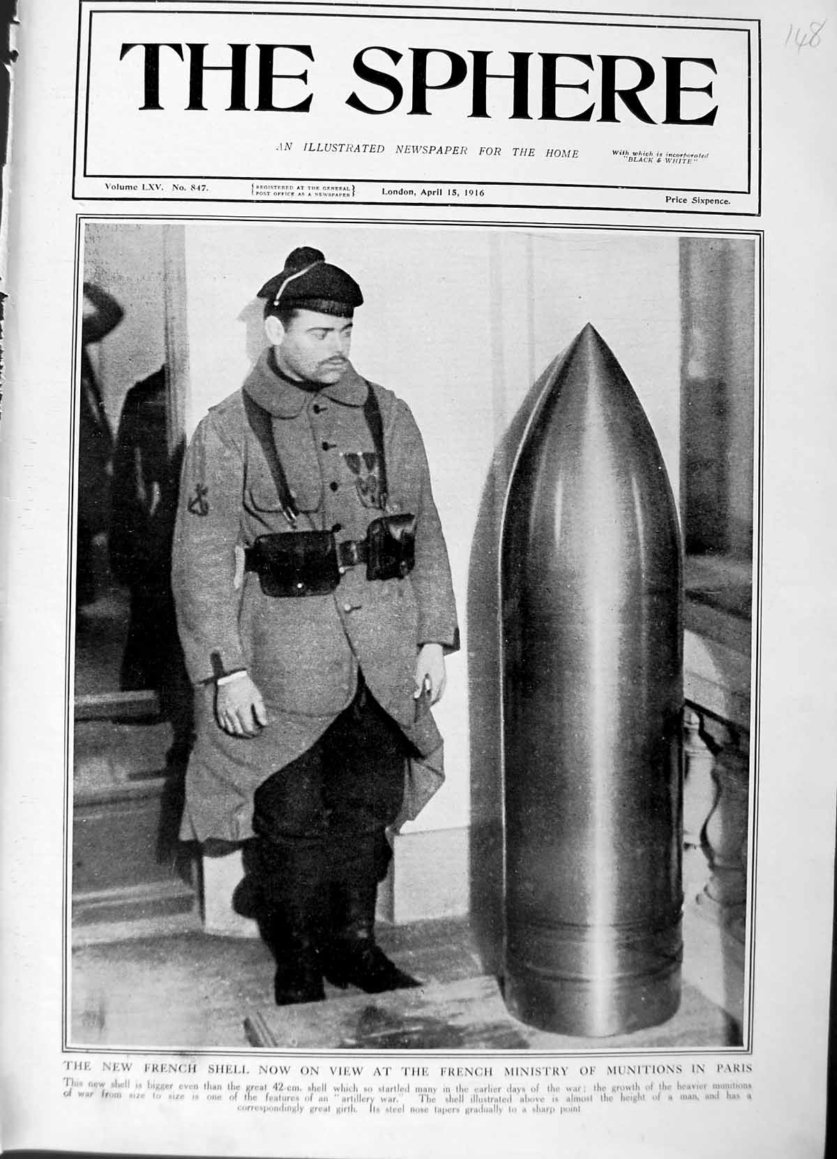[Print 1916 French War Shell Ministry Munitions Paris Soldier 148N803 Old Original]