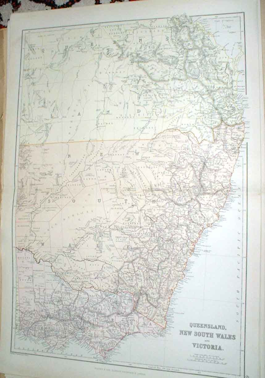 [Print Map Queensland New South Wales Victoria Australia 1882 Old Original]