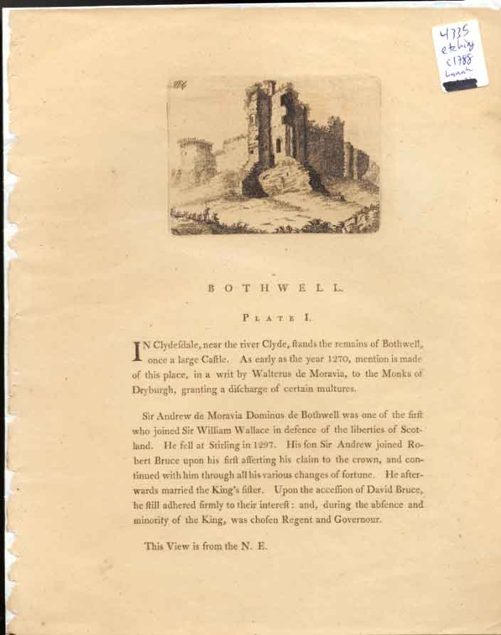 [Print Bothwell Plt 1 C1788 Scotland 324551 Old Original]