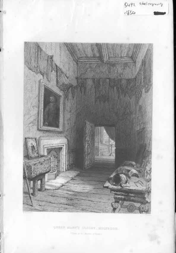 [Print Queen Mary'S Closet C1850 Scotland Steel Engraving 304561 Old Original]