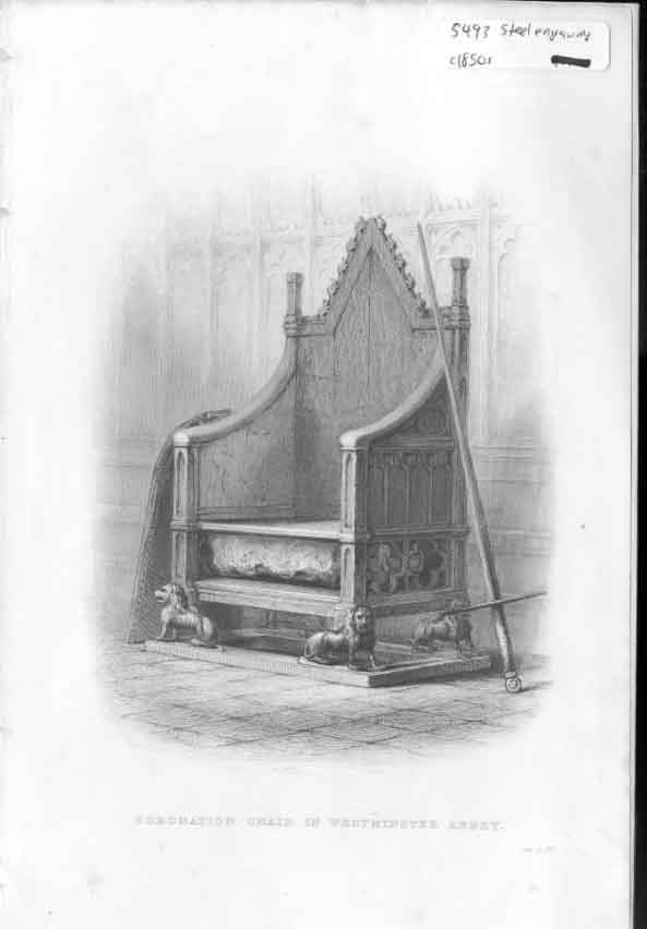 [Print Coronation Chair Westminister Abbbey C1850 764561 Old Original]