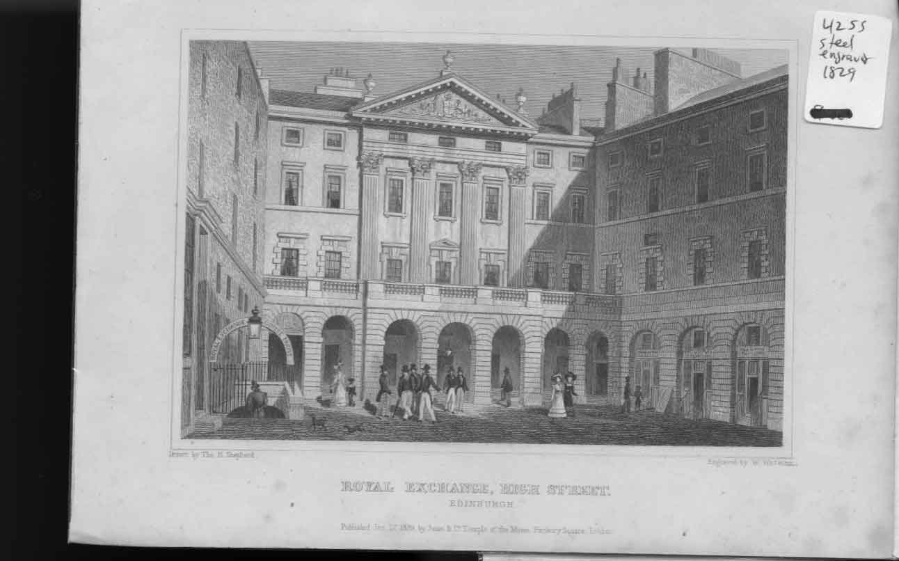 [Print Royal Exchange High St Edinburgh 1829 Scotland 654561 Old Original]