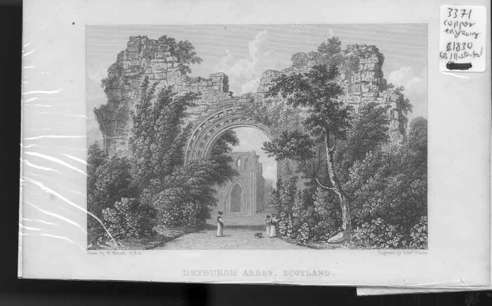 [Print Dryborurgh Abbey Anitque Scotland 1830 Copper Eng Old Original]