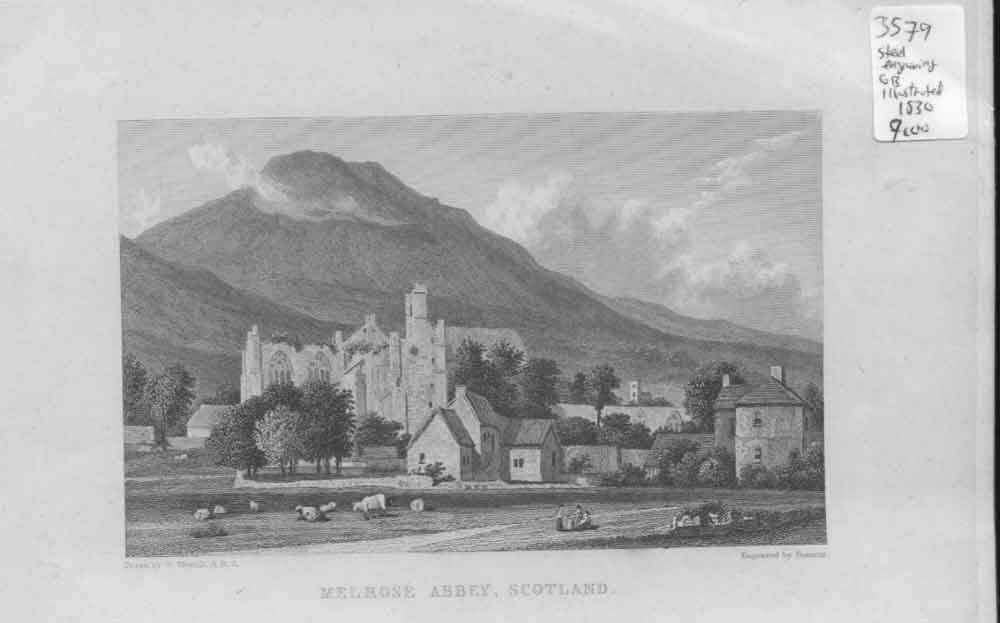 [Print Melrose Abbey 1830 Scotland 484561 Old Original]