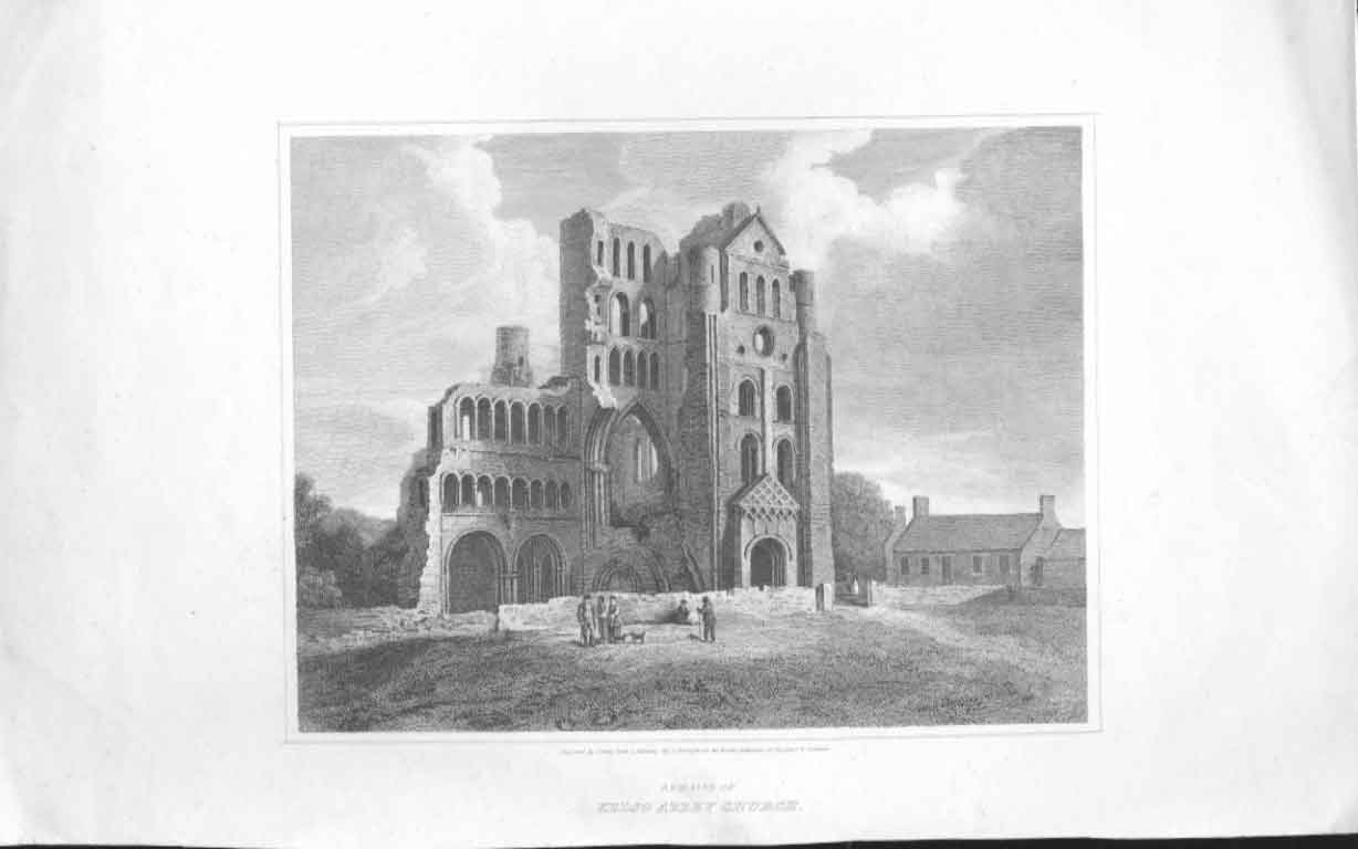 [Print Remains Kelso Abbey Church Scotland 034571 Old Original]