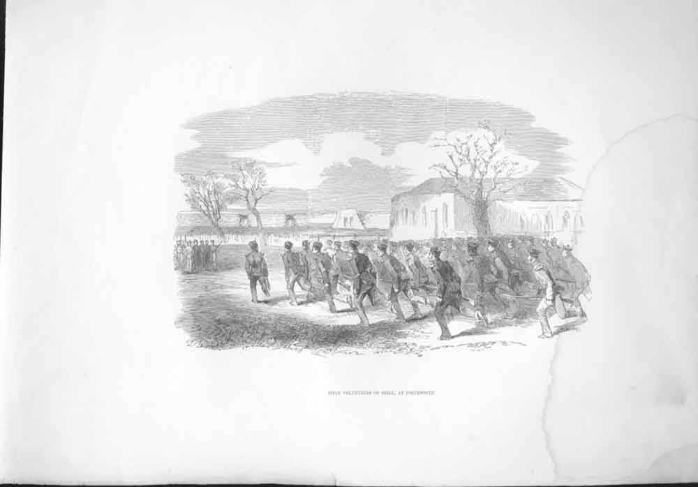 [Print Rifle Volunteers Train At Portsmouth 354571 Old Original]