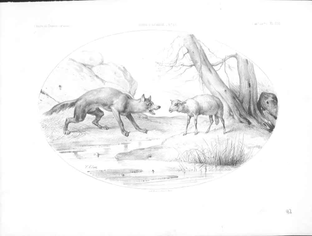 [Print 1898 Sketch Fox & Sheep By V Adam Paris 484571 Old Original]