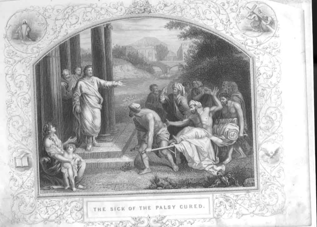 [Print The Sick & The Palsey Cured Religion 1860 264611 Old Original]