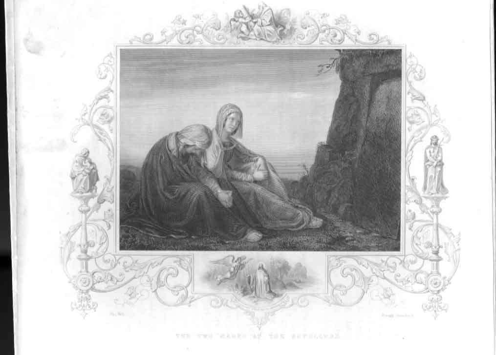 [Print Two Marys At Sepulchre Religion 1860 484611 Old Original]