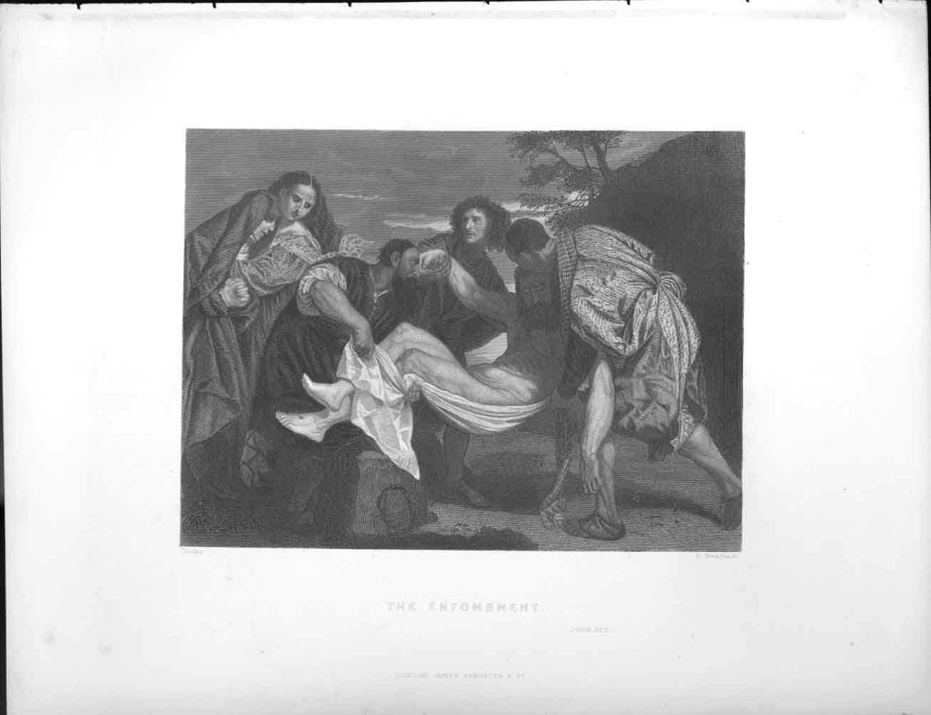 [Print The Entombment Religion 1851-86 024611 Old Original]