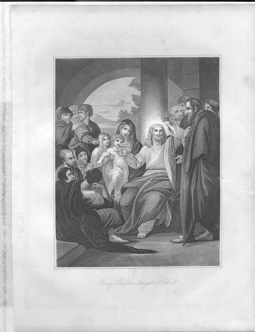 [Print Young Children Brought To Christ Religion 044611 Old Original]