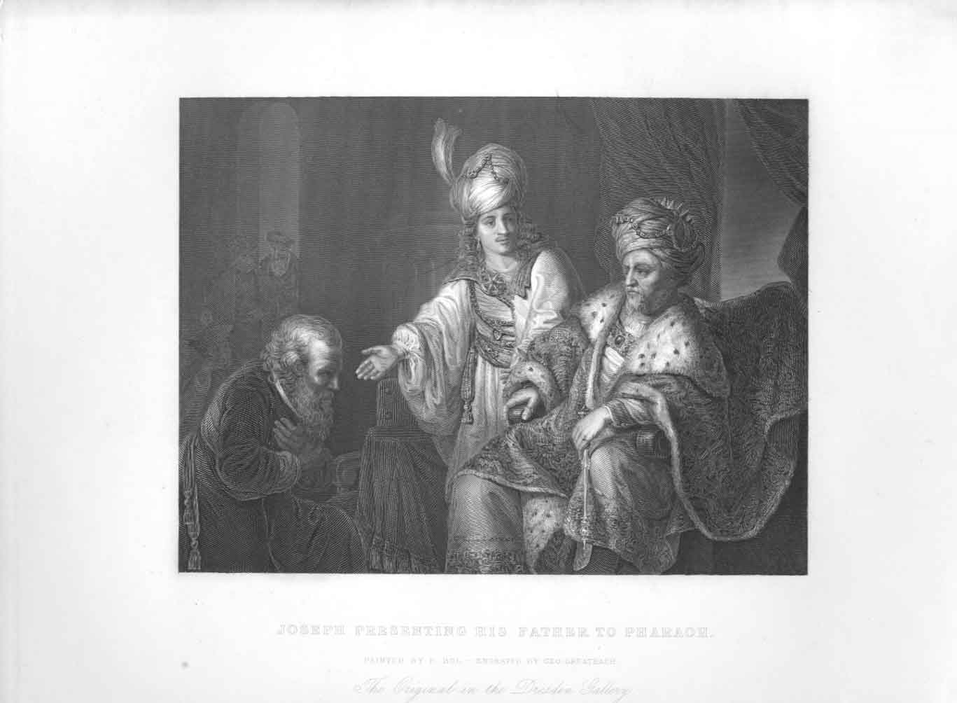 [Print Joseph Presenting His Father To Pharaoh By Bol Religion 474611 Old Original]