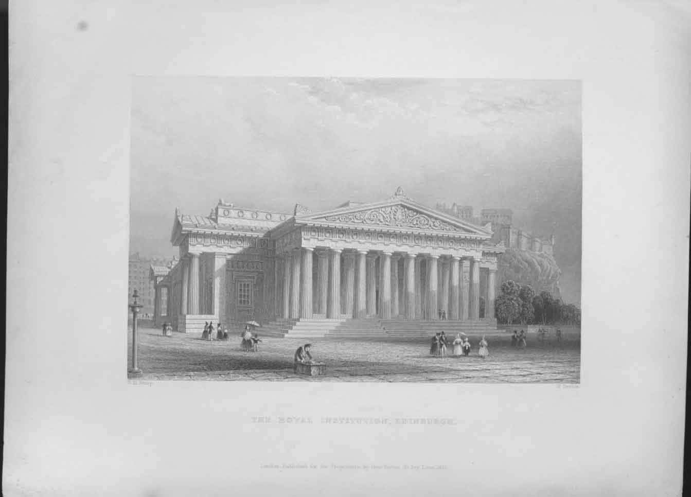 [Print Royal Institution Edinburgh Scotland C1837 444641 Old Original]