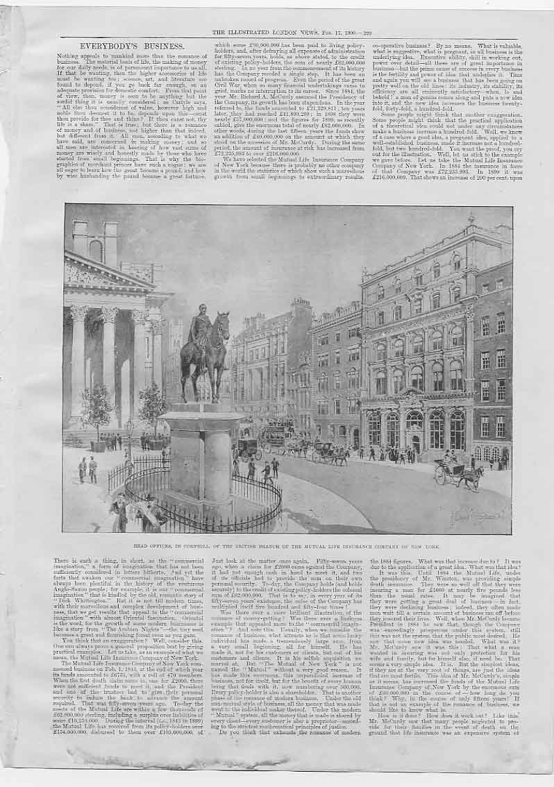 [Print Mutual Life Assurance New York London Office & Story 294760 Old Original]