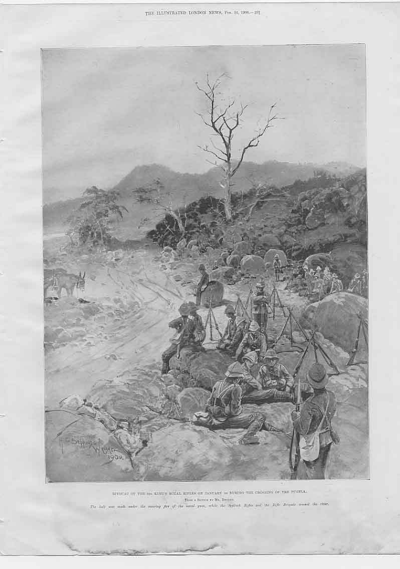 [Print 3Rd Kings Royal Rifles Crossing The Tugela Boer War 514760 Old Original]