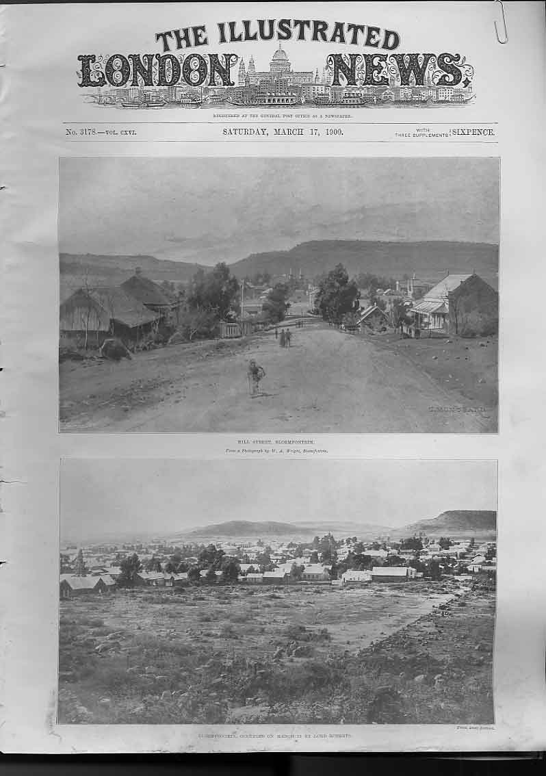 [Print Bloemfontein 1900 2 Pages Africa Boer War 59A4760 Old Original]