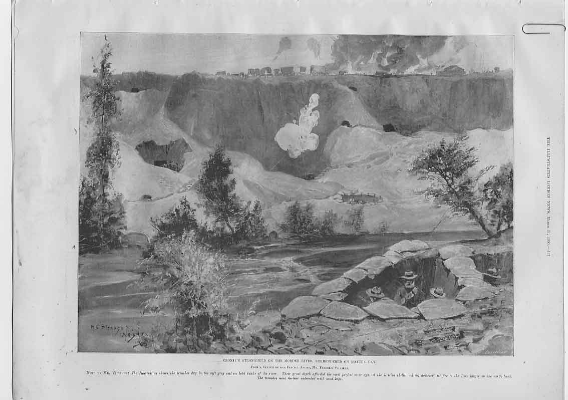 [Print Cronjes Stronghon Modder River 1900 Boer War 31A4760 Old Original]