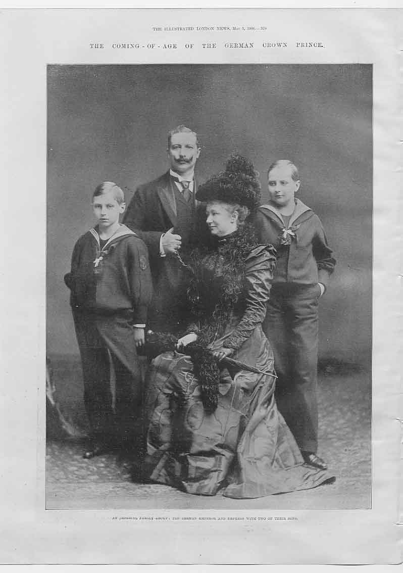 [Print Portrait German Crown Prince & Family 1900 984760 Old Original]