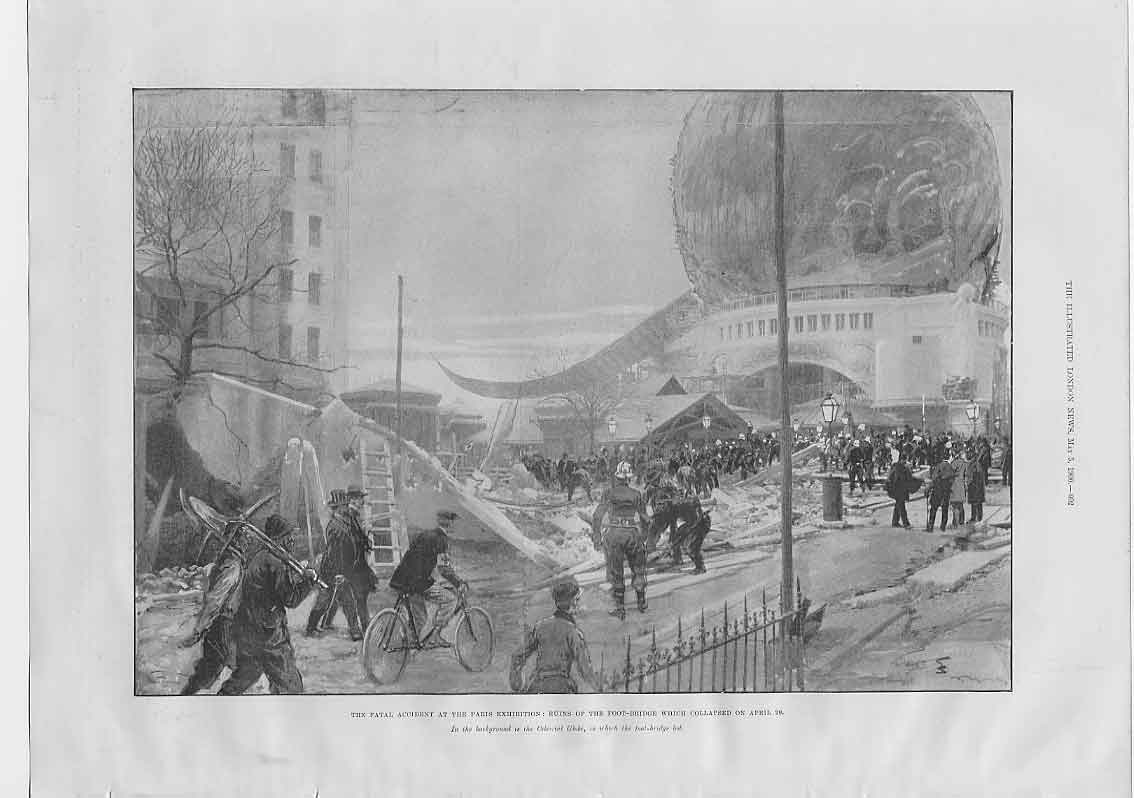 [Print Fatal Accident Paris Exhibition Foot Bridge 1900 024760 Old Original]