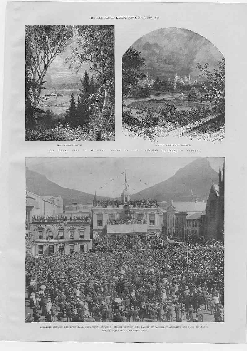 [Print Fire At Ottawa Canada Cape Town Resolution 1900 154760 Old Original]