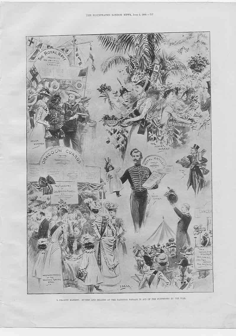[Print Charity Market National Bazaar For Boer War Aid 1900 374760 Old Original]