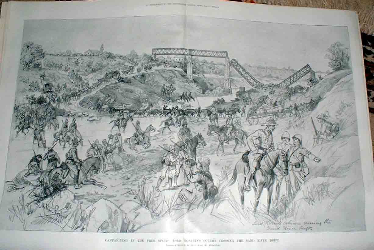 [Print Crossing Sand River Drift Free State 1900 Boer War 78T4760 Old Original]