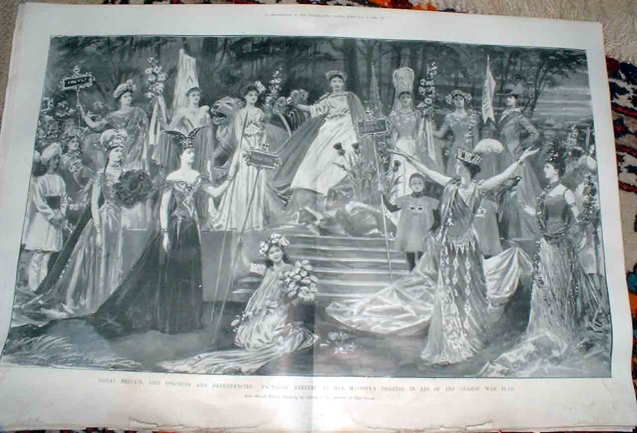 [Print Theatre Scene In Aid Guards War Fund 1900 Boer War 94T4760 Old Original]