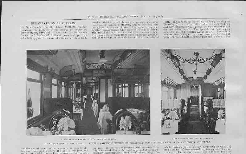 [Print Resturant Car On New Train Service 1903 644760 Old Original]