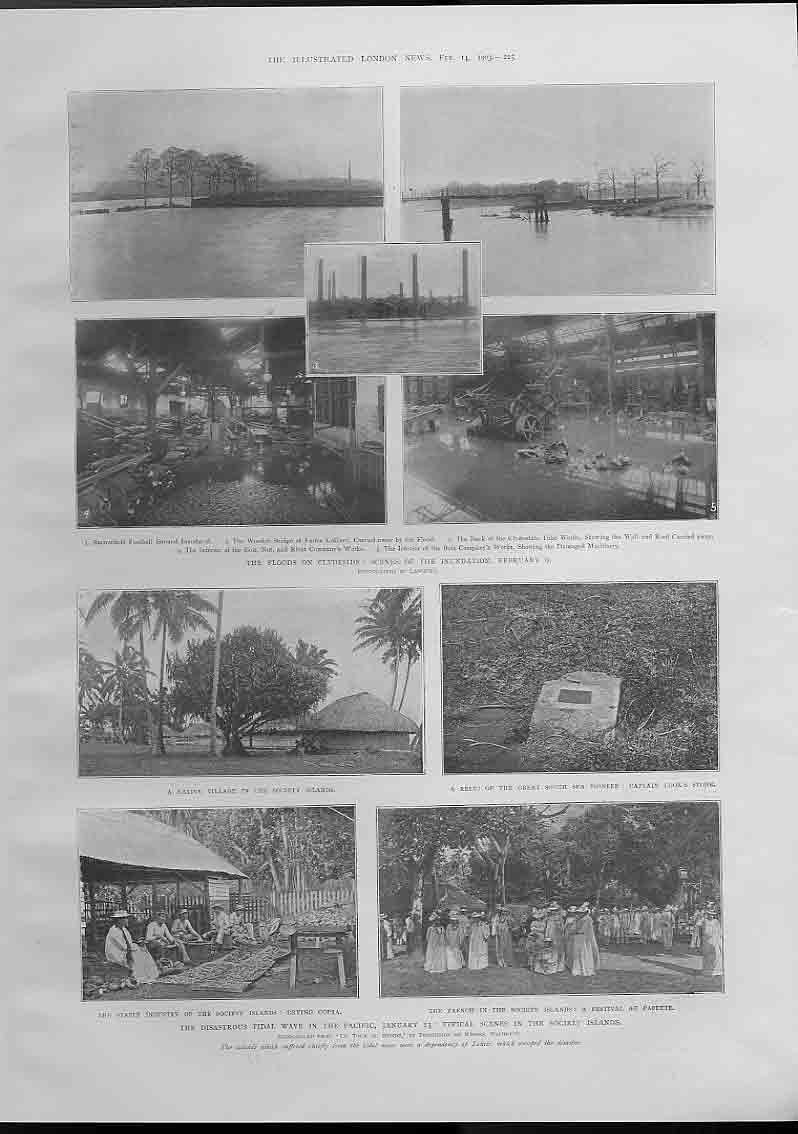 [Print Flods Clydeside Scotland & Tidal Wave Society Islands 254760 Old Original]