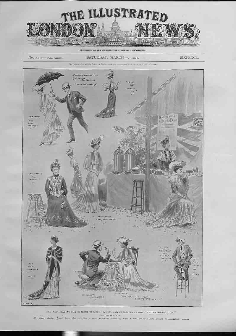 [Print Whitwashing Julia Play Garrick Theatre 1903 404760 Old Original]