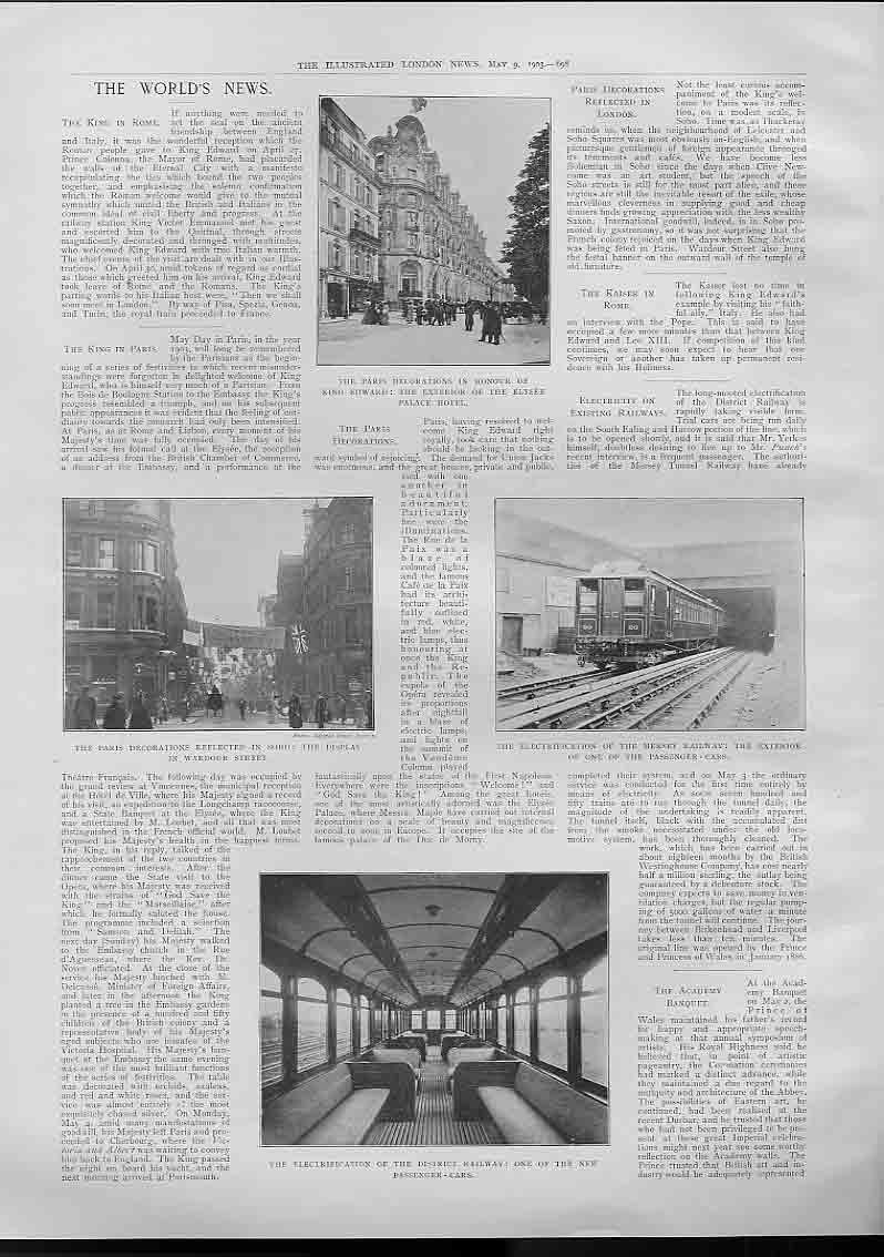 [Print Paris Decorations Electrification Mersey Railway 1903 984760 Old Original]