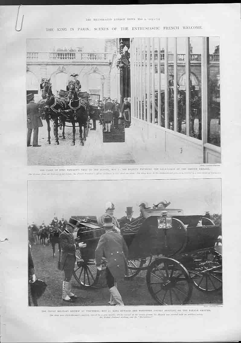 [Print King Edward In Paris France 1903 13A4760 Old Original]