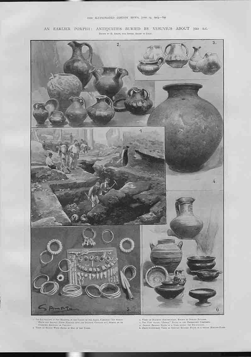 [Print Early Pompeii Antiquities Buried By Vesuvius 700 Bc 994760 Old Original]