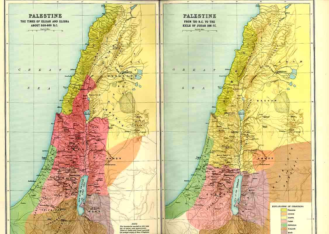 [Old Antique Print Palestine 860-800 Bc And 720-586 Bc Map 1915 364971 ]