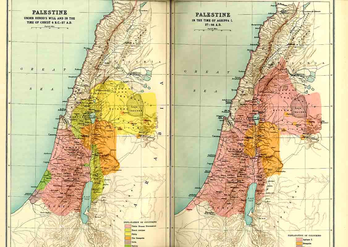 [Print Palestine Under Herod And Agrippa I Map 1915 444971 Old Original]