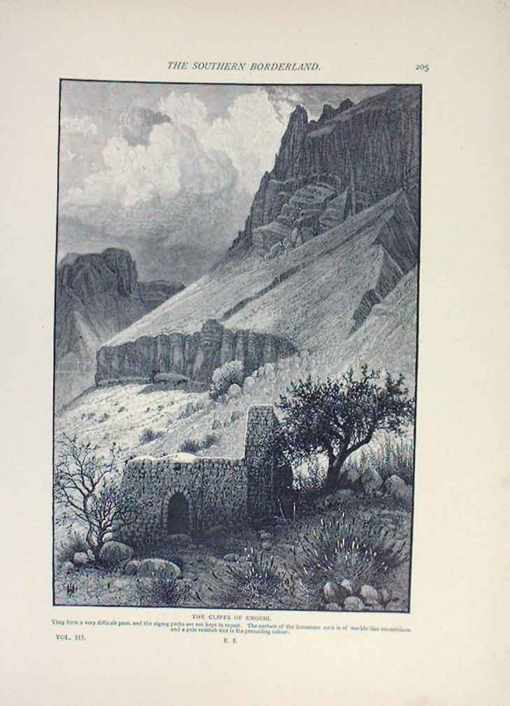 [Print Cliffs Engedi 1883 Palestine Sinai Egypt 365221 Old Original]
