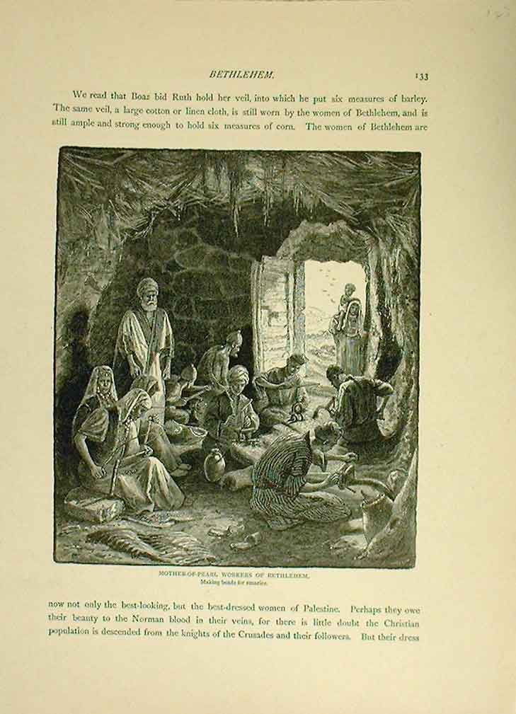 [Print Mother Pearl Workers At Bethelehem 1883 435221 Old Original]