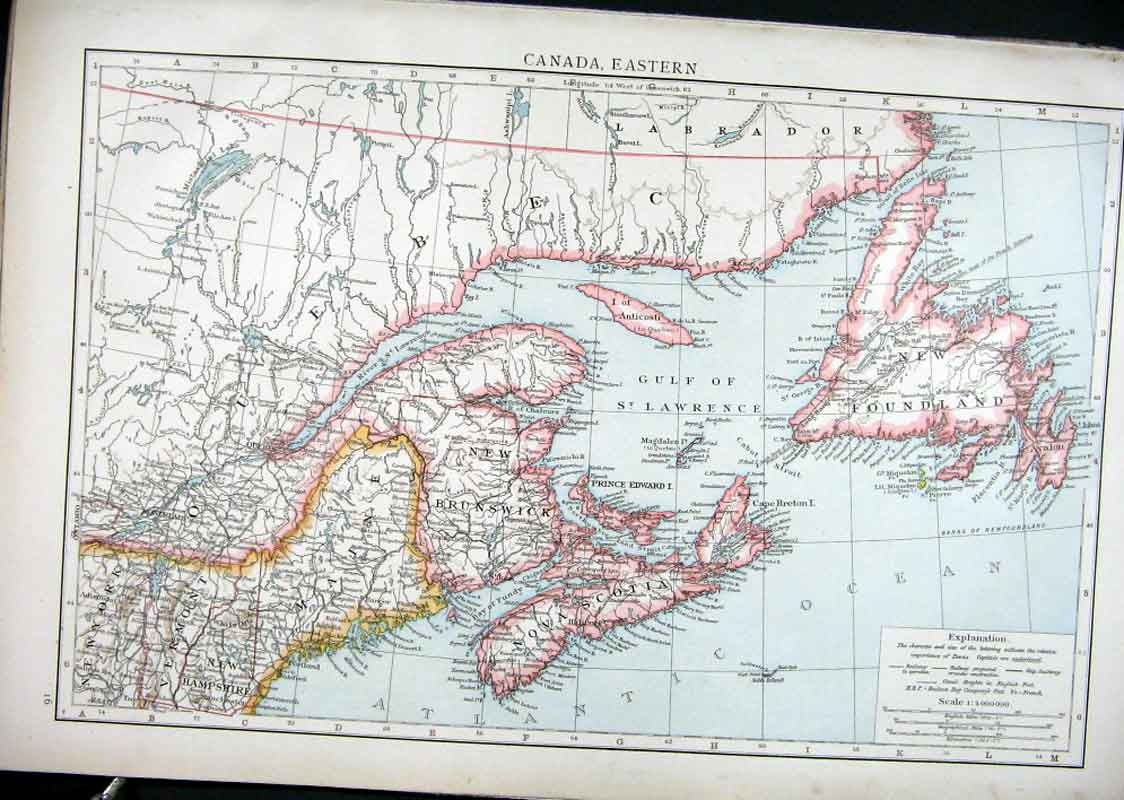 [Print Canada Eastern Map 1898 915321 Old Original]