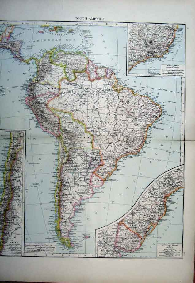 [Print South America Map 1898 005321 Old Original]