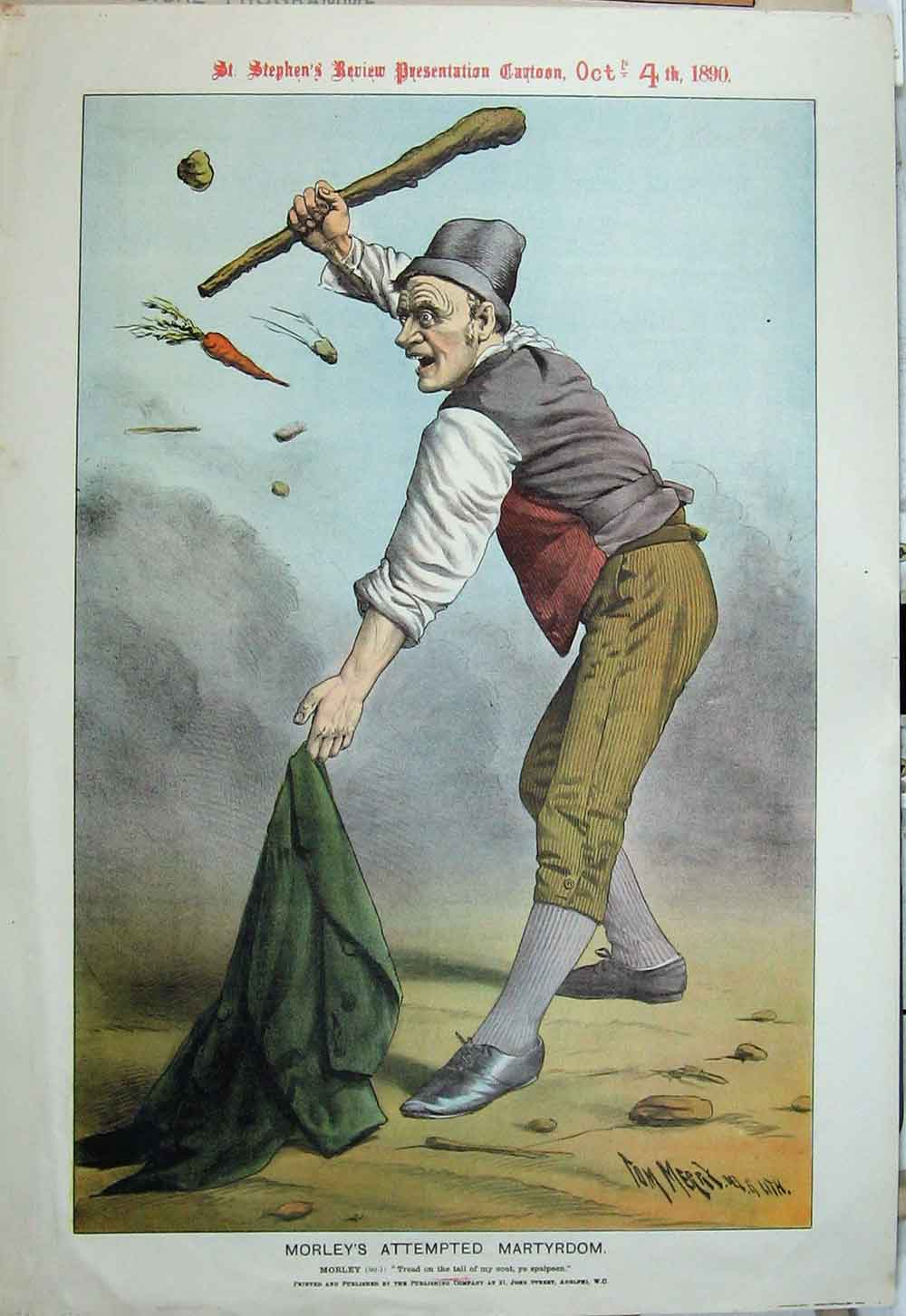 Print 1890 Morley'S Martyrdom Flying Vegetables Coat Cartoon 02Xyz1 Old Original