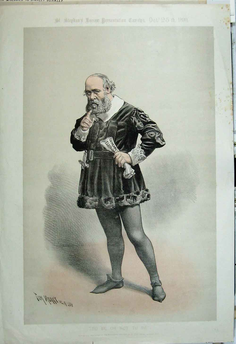 Print 1890 Political Cartoon Shakespear General Election Tom 09Xyz1 Old Original