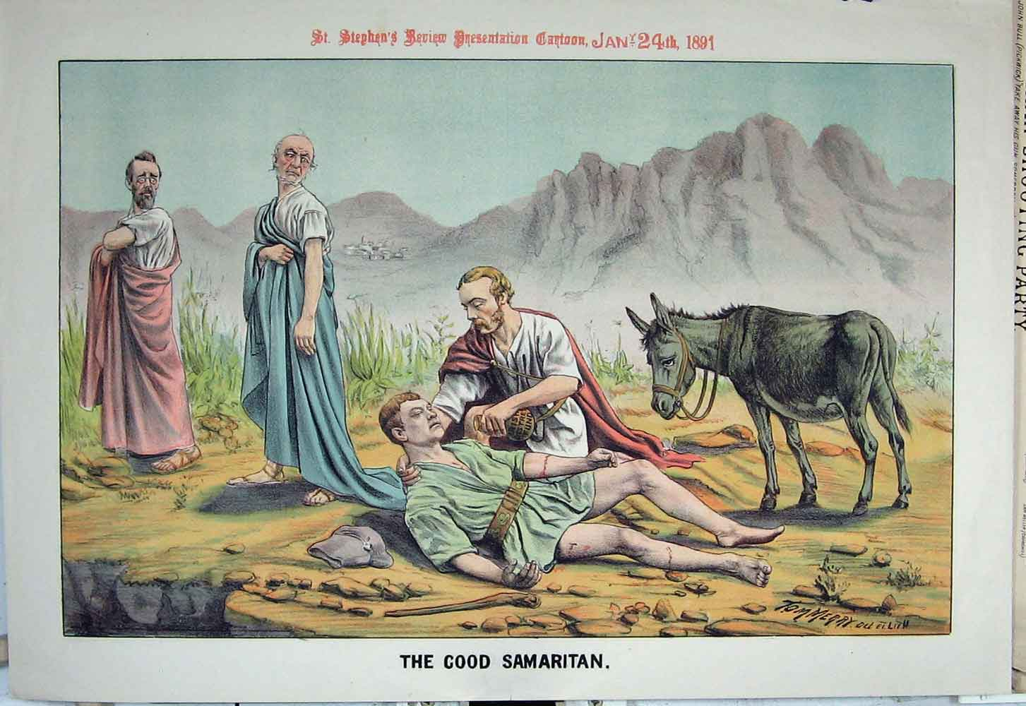 Print 1891 Good Samaritan Donkey Dying Man Mountains Cartoon 26Xyz1 Old Original