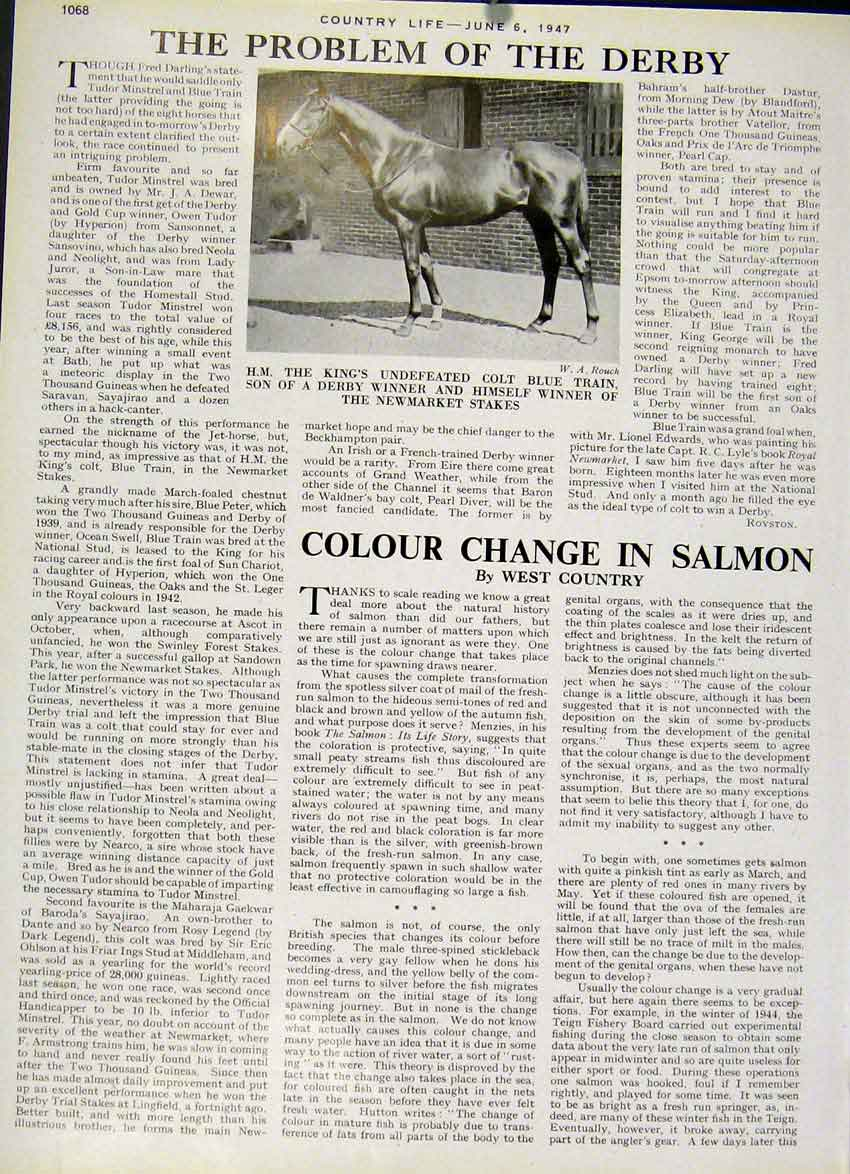 [Print The Problem The 1947 Derby Horse Race 68Za19 Old Original]