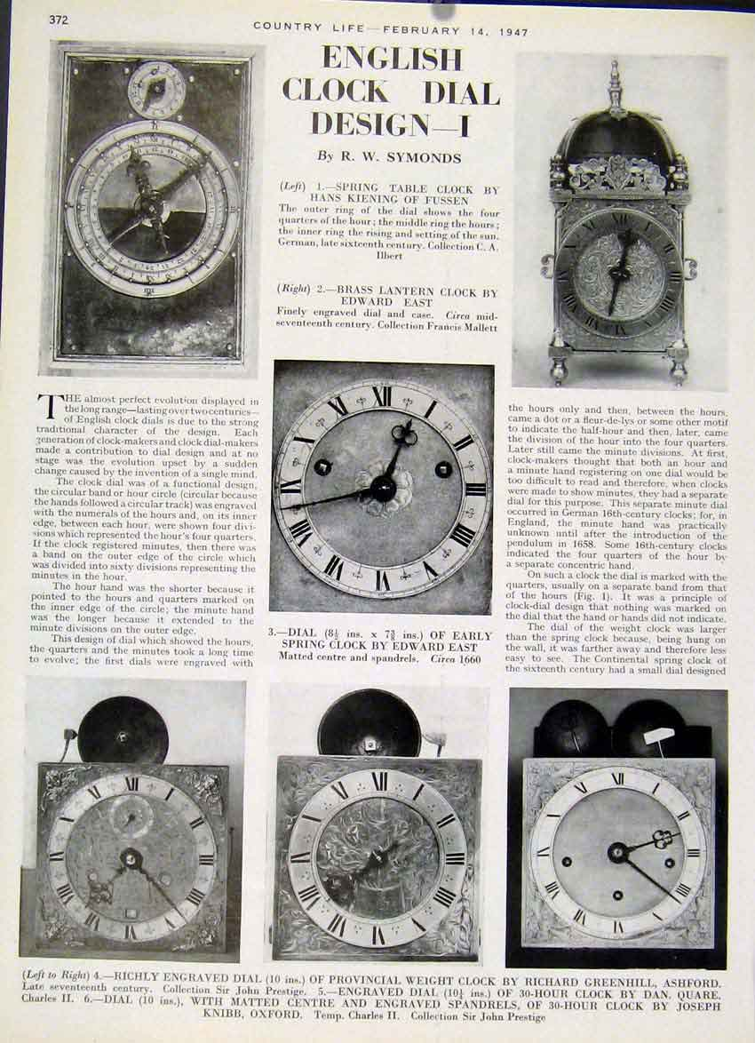 [Print English Clock Dial Design By Symonds 1947 2Aza19 Old Original]