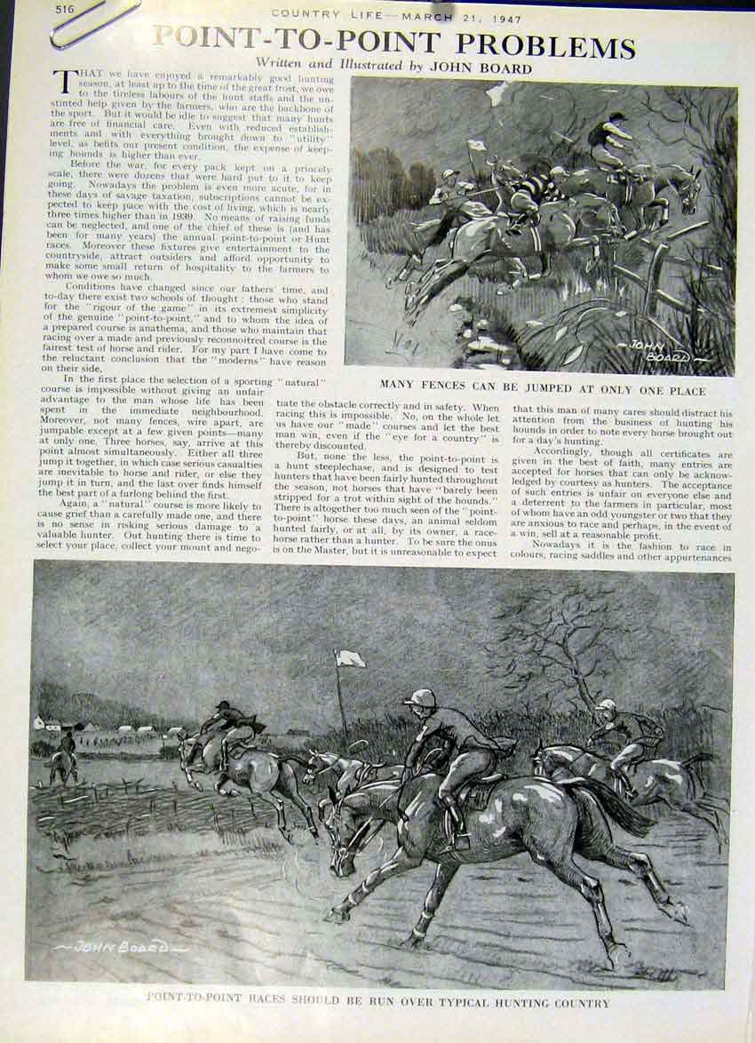 [Print Point To Point Problems 1947 Horse Racing 6Aza19 Old Original]