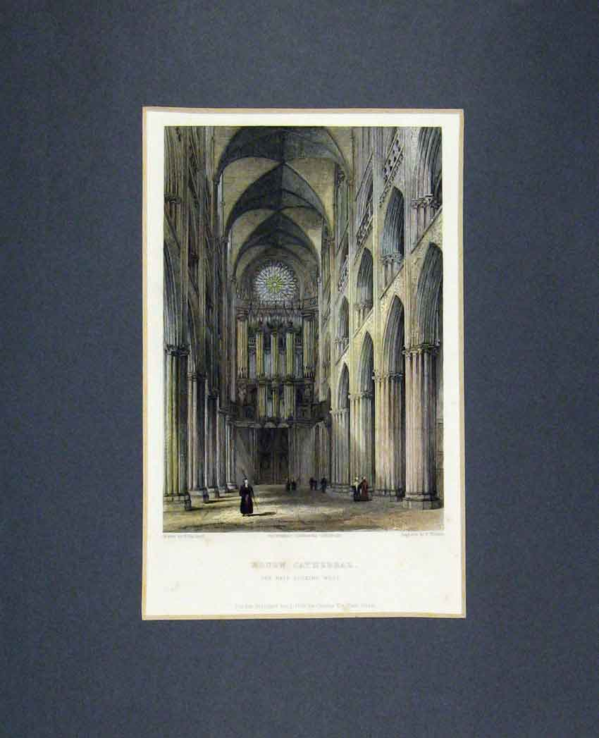 Print 1836 Hand Coloured View Nave Rouen Cathedral Winkles 305B268 Old Original