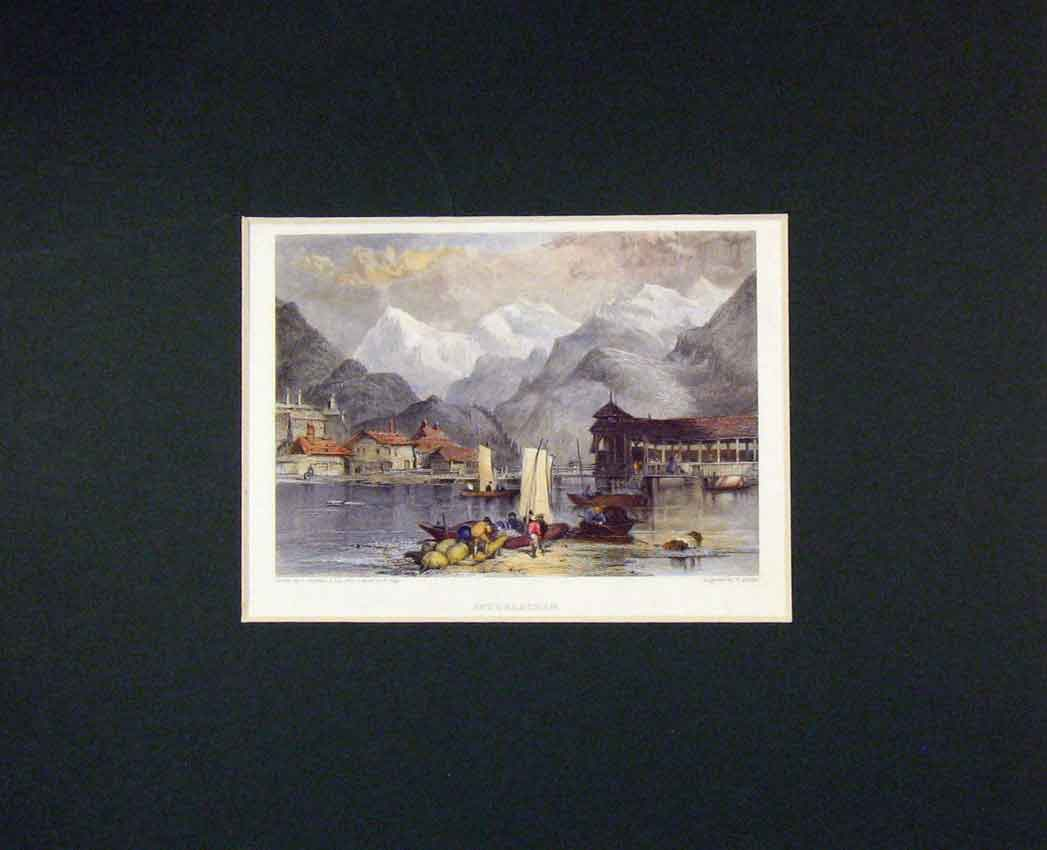 Print 1840 Hand Coloured View Interlachen Mountains Boats 312B268 Old Original